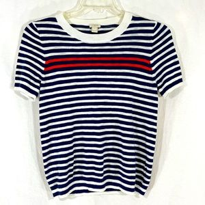 J. CREW Blue, White & Red Striped Sweater Blouse